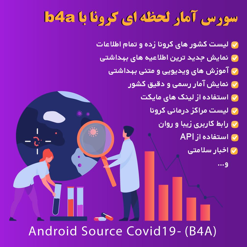 سورس آمار لحظه ای کرونا با b4a